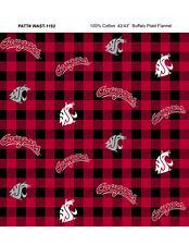 NCAA-Washington State Cotton Flannel Fabric-WSU Cougars Flannel Fabric-WAST1192