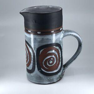 Mid-Century Modern Briglin Studio Pottery Glazed Jug Brown Swirl Design