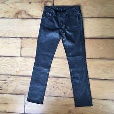 Polo Ralph Lauren 888 Womens Charcoal Gunmetal Metallic Skinny Jeans Stretch 27