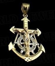 MARINER PENDANT 10K Rose/White/Yellow Gold Nautical Anchor-Crucifix-Ships Wheel