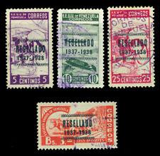 """VENEZUELA 1937 Pictorials -  """"RESELLADO""""  overprinted set  Sc# 321-324 used VF"""