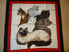 AUTH Hermes `Les Chats` Scarf