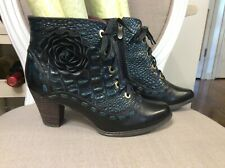 Spring Step L'Artiste Sufi Women's 39 US  8.5 Leather Flower Ankle Boots Heel