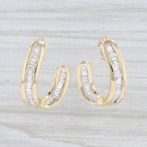 1.24ctw Diamond Abstract Horseshoe Earrings 14k Yellow Gold Pierced