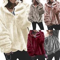 Womens Faux Fur Teddy Fluffy Sweater Hooded Hoodie Jumper Pullover Coat Tops Zip