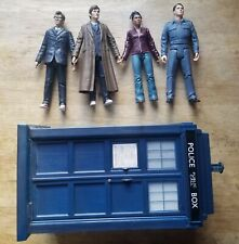 Doctor Who Action Figure Lot Of 4 and Tardis - 10th Doctor, Martha and Jack