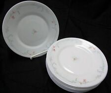 Arcopal France White Milk Glass Salad Plates Odessa Freesia Pink Blue