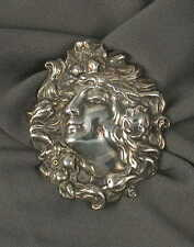 Art Nouveau Lady Brooch Pin