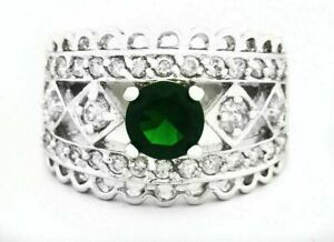 EMERALD 1.20 Cts & WHITE SAPPHIRE RING Silver Plated * NEW/ TAG * Free shipping