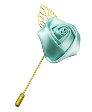 Mint Green Rose Gold Metal Leaf Satin Lapel Pin Wedding Boutonniere