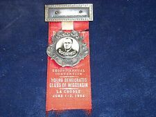 1934 Young Democratic Clubs of Wisconsin Watch Fob and Ribbon Franklin Roosevelt