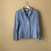 St. John Collection Marie Blue Santana Knit Blazer Jacket Size 4