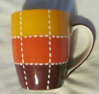 Harry and David Ceramic Coffee Mug Cup Orange Yellow Beige & White Stitches EUC