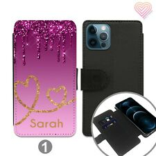 Personalised Leather Flip Stand Wallet Case For Apple Samsung iPhone 267