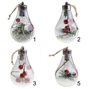 Christmas Tree Hanging Lamp Bulb Plastic LED Light Ball Bauble Xmas Party Decor