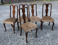 Antique Set Of 5 Queen Anne Style Dining Chairs