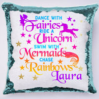 PERSONALISED Unicorn Sequin Cushion Cover Magic Reveal Christmas Gift Pink bday