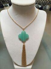 NWOT Light Aqua Gold Clover Tassel Necklace Anthropologie