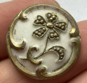 """Antique Vintage Victorian White Glass Button With Gold Luster Flower 7/8"""""""