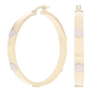 Italian 14k Yellow & White Gold Love Screw Design Large Hollow Hoop Earrings