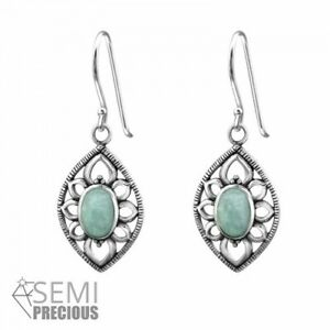 925 Sterling Silver Marquise with Amazonite Gemstone Drop/Dangle Earrings