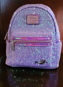 Loungefly Ariel Sequin Purple Disney Little Mermaid 30th Anniv Mini Backpack