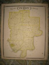 ANTIQUE 1876 PERRY COUNTY TELL CITY CANNELTON PAOLI CORYDON SALEM INDIANA MAP NR