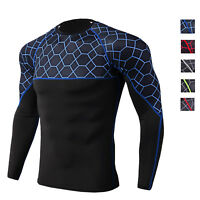 Men's Active Sports Shirt Quick-dry Training Gym Tops Long Sleeve Compression