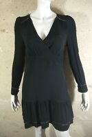CAROLL Taille 38 Superbe robe doublée noire manches longues black dress