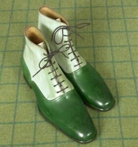New Handmade Pure Green & Hash White Leather Ankle Boots for Men's