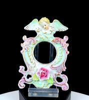 "GERMAN PORCELAIN CHERUB ROSE PINK GREEN GILT 5 1/2"" PHOTO PICTURE FRAME"