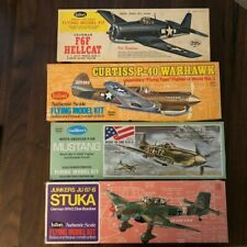 Lot of 4 Guillow's WWII Aircraft - Hellcat, Warhawk, Mustang, Stuka