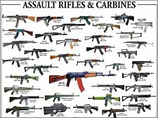 18x24in Assault Rifles & Carbines Poster  Russian Chinese German USA AK47 AR15