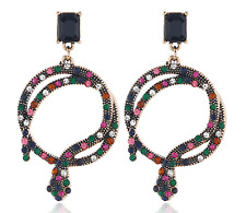 NEW Snake Serpent Colourful Crystal Embellished Aged Gold Hoop Stud Earrings