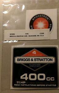 Briggs & Stratton 11-hp 400cc 1986-94 Shroud Labels Decals set of 3