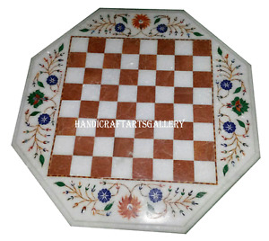 "24"" White Marble Coffee Table Top Lapis Floral Inlay Chess Playroom Decors H967"
