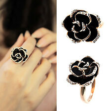 Fashion Women Ring Adjustable Golden Plated Crystal Black Rose Flower Ring Craft
