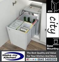 Hafele 34ltr City Kitchen Pull Out Waste Bins 2 x 8ltr, 1 x 18ltr 450mm Unit