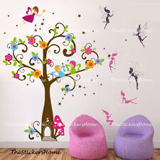 Girls Pink Magic Fairy Tree Angle Wall Stickers Art Decal Wallpaper Kids Nursery