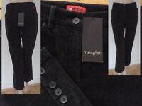 Mergler Hose Damen Kordhose 3/4 Bein seitliche Knöpfe Stretch schwarz Gr 36 Neu