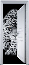 Sticker porte trompe l'oeil déco Jaguar 90x200 cm réf 2104