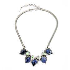 Halskette Silber Art Deco Diamentine Unregelmäßige Sodalith Blau Grün Original