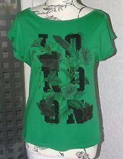 Neu oversized esprit T-Shirt Gr.XS Gr.34 - 36 grün mit Druck 50% Baumwolle