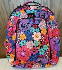 VERA BRADLEY Laptop Backpack Travel Bag College Work FLORAL FIESTA