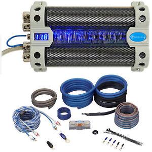 Rockville RFC30F 30 Farad Capacitor Volt Display+Amp Kit Black Wire Mesh Cover