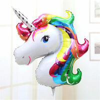 2Pcs Cute Rainbow Unicorn Balloon Head Shaped Horse Birthday Party Decoration