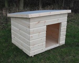 Wooden Dog Kennel Pent Winter Warm House Weather Proof Shelter Outdoor