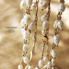 Halskette Gold kultiviertes Perlen Süßwasser-weiße lange Ehe Klasse TZ1