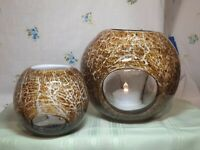 2 Art Glass Fishbowl Votive Vases, Hand Blown W/Window Inserts,Candle Holders