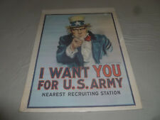 VINTAGE 1970S I WANT YOU FOR US ARMY NEAREST RECRUITING STATION PRINT POSTER >>